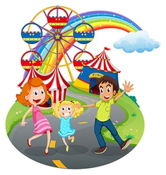A family at the carnival vector image vector image