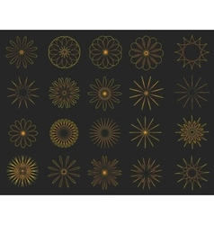 Abstract golden Vintage Sunbusrt elements set vector image