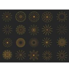 Abstract golden vintage sunbusrt elements set vector