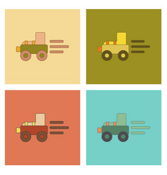 Assembly flat icons kids toy tractor vector