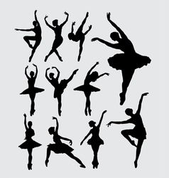 Ballet female dancer silhouettes vector