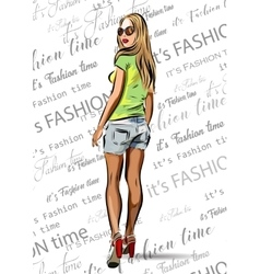 beautiful blondie woman with sunglasses - fashion vector image