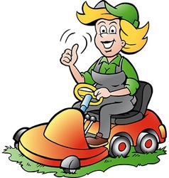 Cartoon of a handy gardener woman riding on a vector