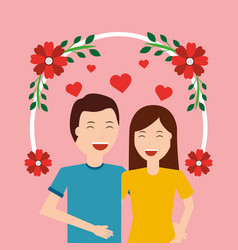 Cute happy couple together love with floral vector