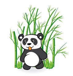 Cute panda bear in bamboo forrest 01 vector