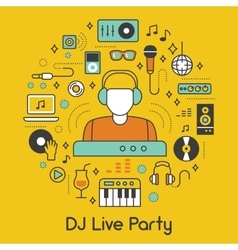 Dj music party line art thin icons set vector