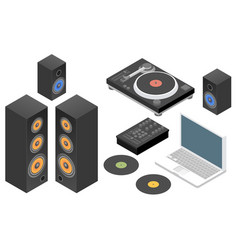 Dj set flat isometric vector