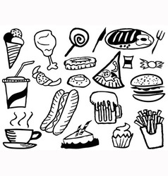 doodle junk food background vector image vector image