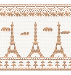 Eiffel tower seamless knitted pattern vector image