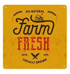 farm fresh eco food poster all natural locally vector image vector image