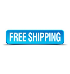 Free shipping blue 3d realistic square isolated vector