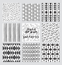 geometric pattern set of hand drawn style vector image vector image