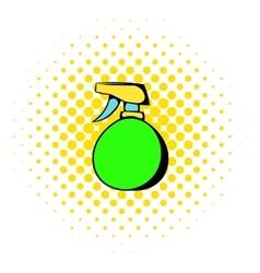 Green plastic spray bottle icon comics style vector