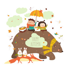 happy kids with bear and fox vector image
