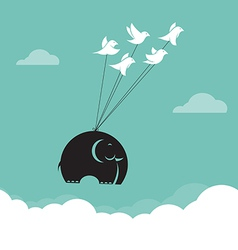 image of bird and elephant in the sky vector image vector image