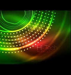 magic neon circle shape abstract background shiny vector image