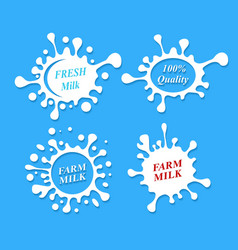 Milk labels set Splash shapes design vector image