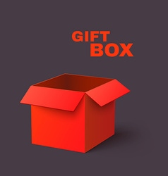 Open Red Box Isolated on Dark Background vector image vector image