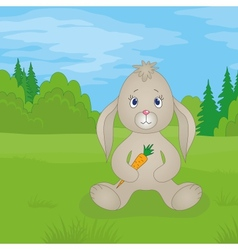 Rabbit girl with carrot in summer forest vector image vector image