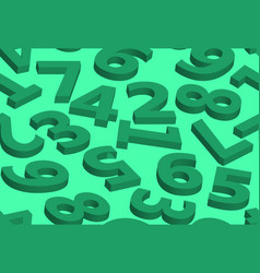 seamless pattern numbers in 3d green vector image vector image