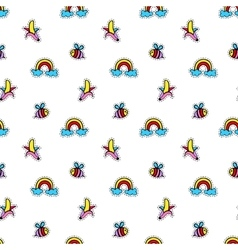 Seamless pattern with fashionable patch badges set vector image vector image