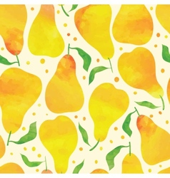 Seamless pattern with watercolor pears vector