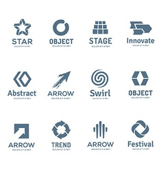 Set of abstract business logo icon design template vector image