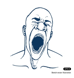 Shouting or yawning or tired man vector image vector image