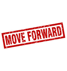 Square grunge red move forward stamp vector