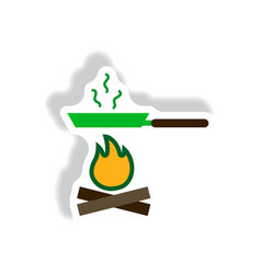 Stylish icon in paper sticker style pan with fire vector