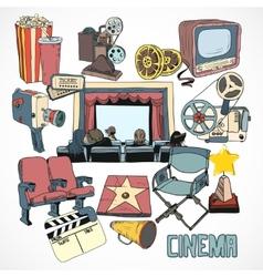 Vintage cinema concept poster vector image vector image