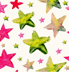 Watercolor star seamless pattern vector