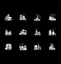 White glyph icons for industrial factories vector