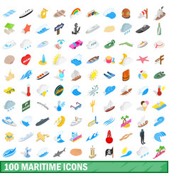 100 maritime icons set isometric 3d style vector image