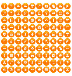 100 natural disasters icons set orange vector