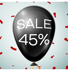 Black baloon with text sale 45 percent discounts vector