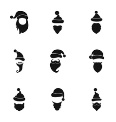 Santa Claus icons set simple style vector image