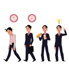 Young businessman employee in various business vector