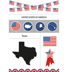Map of texas set of flat design icons nfographics vector