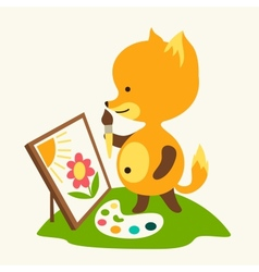 Little cute baby fox draws picture vector image