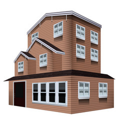 3d design for tall wooden house vector