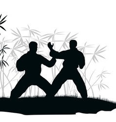 Two men are engaged karate an vector