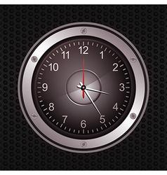 Clock in a speaker on black metallic background vector image