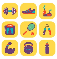 Fitness icons flat vector