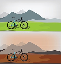 Bicycle in mountain landcape vector
