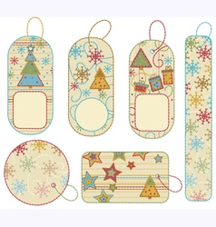 Set of xmas labels vector