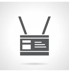 Monochrome name badge glyph style icon vector image
