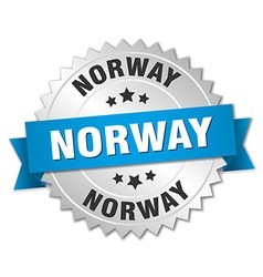 Norway round silver badge with blue ribbon vector