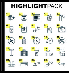 Airport icons set collection of airliner takeoff vector
