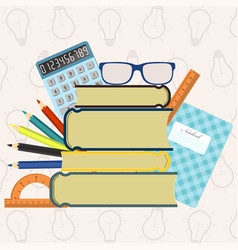 Back to school background with supplies set vector
